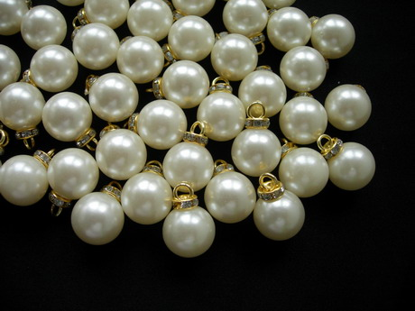 BA04 16mm Faux Pearl Bead Button Cream Gold Loop & Diamante 20pc
