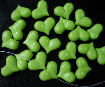 BK19 3D Puff Heart Acrylic Charm Lime Green w/Hole x15