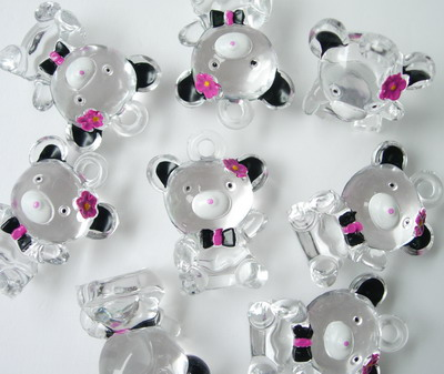 BK30 Bear Panda w/Bow Flower Clear Charm Pendant 3pcs