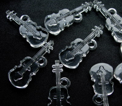 BK32 Clear Guitar 3D Charm Jewelry 4pcs