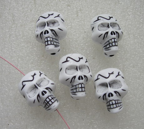 BK45 Big 3D Carved Skull Head Charm Bead Figures Pendant 5pcs