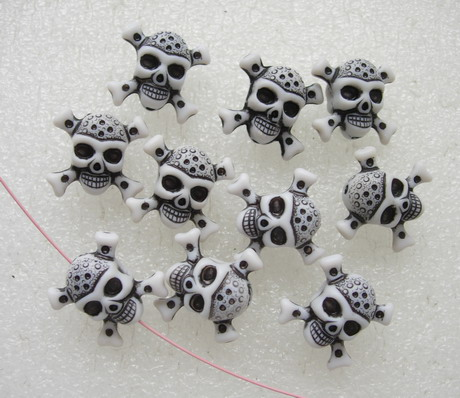 BK46 3D Carved Skull Crossbone Pirate Charm Bead Pendant 10pcs