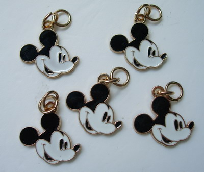 BK54 Mickey Mouse Head Face Charm Pendant Jewellery x5