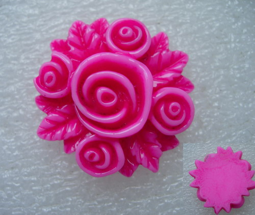 BK57 40mm Resin Rose Flower Cabochons Cameo Flat Back Fuchsia x2