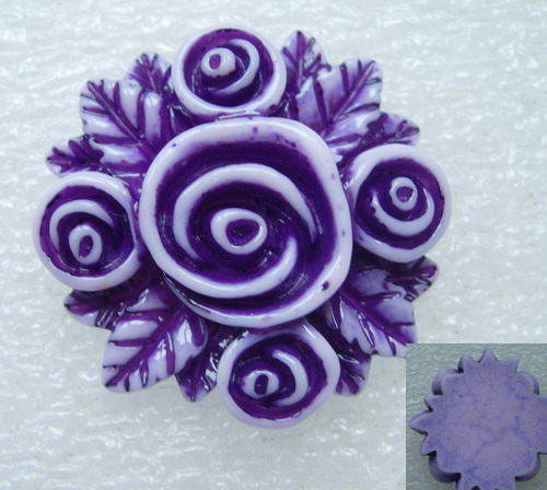 BK58 40mm Resin Rose Flower Cabochons Cameo Flat Back Purple x2
