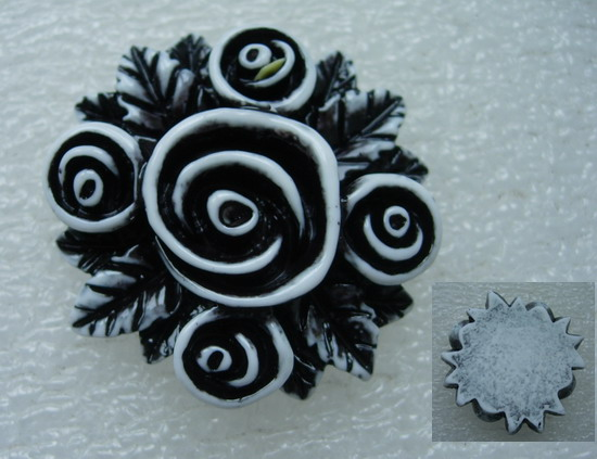 BK59 40mm Resin Rose Flower Cabochons Cameo Flat Back Black x2