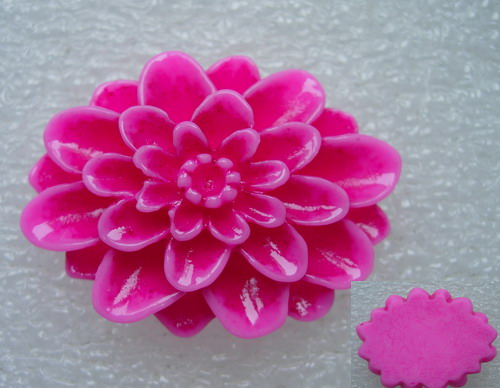 BK60 30x40mm Resin Daisy Flower Cameo Flat Back Fuchsia x2