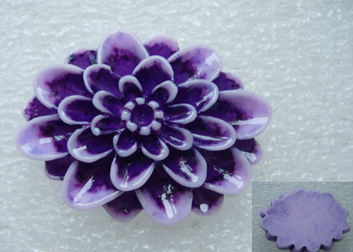 BK61 30x40mm Resin Daisy Flower Cameo Flat Back Purple x2
