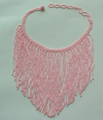DJ03 Pink Fringe Beaded Choker Necklace for Belly Dance