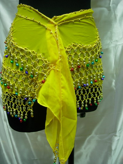 BL19 Belly Dance Costume Hip Scarf Wrap Multicolor Beads Yellow