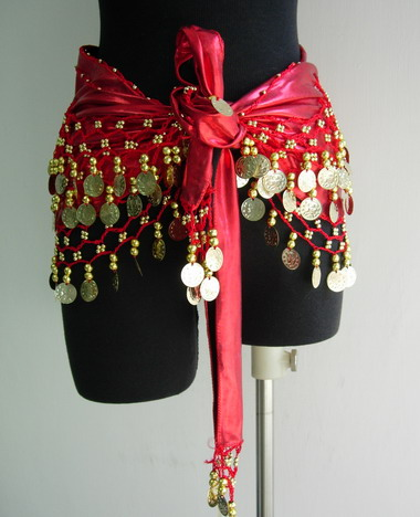 BL44 Belly Dance Costumes Hip Scarf Wrap w/Beads Coins Red
