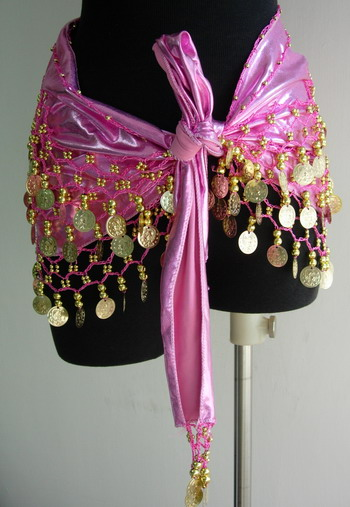 BL47 Belly Dance Costumes Hip Scarf Wrap w/Beads Coins Pink