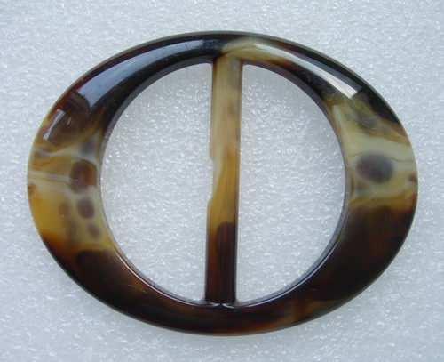 "LU01 Tortoise Lucite Belt Buckle ""OVAL"" for Ribbon Belt Strap"