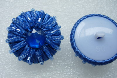 BT27-2 Gem Beaded Bugle Dome Button Knot Blue
