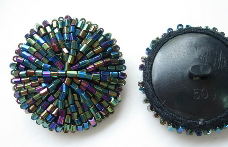 BT28 Bugle Beaded Dome Button Knot Black Iridescent