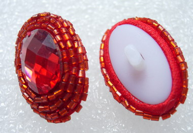 BT46 Red Oval Gem Beaded Dome Button Knot Handmade