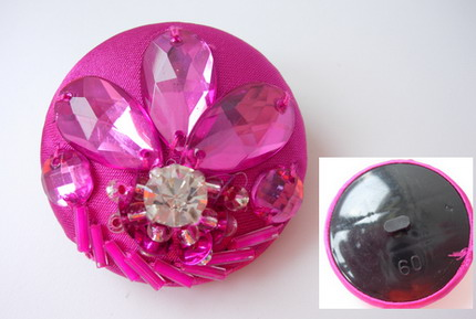 BT50 38mm Rhinestones Dome Button Knot Fuchsia