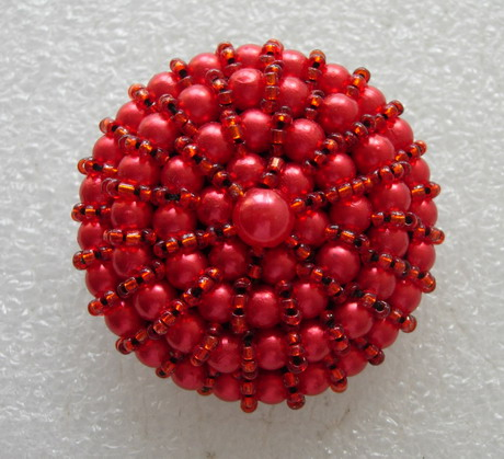 BT54 50mm Red Big Dome Beaded Button Handmade