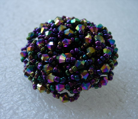 BT56 42mm Black Iris Big Dome Beaded Button Handmade
