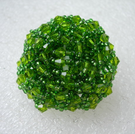 BT58 42mm Lime Crystal Beaded Dome Button Handmade Knots