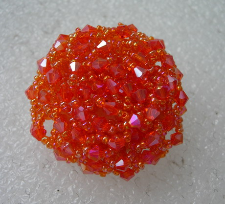 BT59 42mm Orange Crystal Beaded Dome Button Handmade Knots