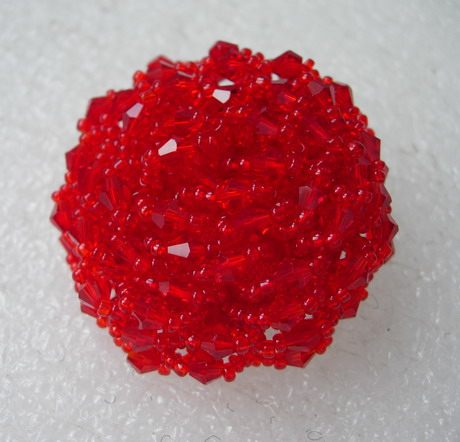 BT60 42mm Red Crystal Beaded Dome Button Handmade Knots