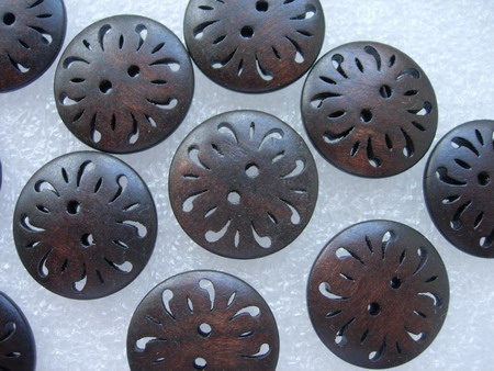 BW01 25mm Flower 2Holes Wood Button Dark Brown Sew/Craft 10pcs - Click Image to Close