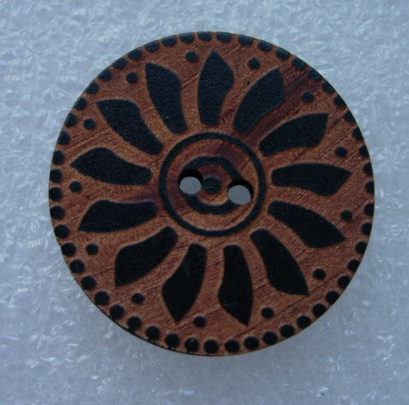 BW03 35mm Big Celtic 2Holes Wood Button Brown Fashion/Sewing 5pc