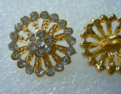 CY02 20mm Crystal Rhinestones Button Knot Round