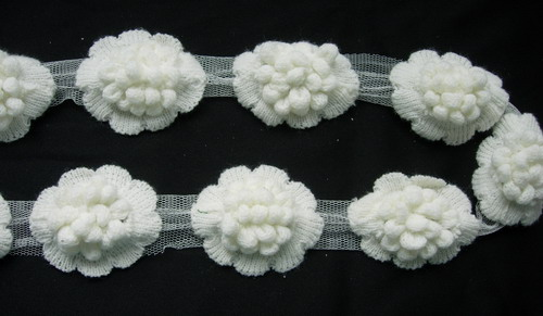 "CB01 2.5"" 3D Popcorn Flower Crochet Stitch Applique Banding 1Y"