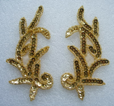 LR01 Left & Right Sequin Bead Applique Gold