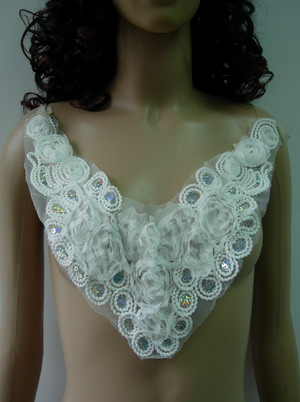 FN208 Frayed Chiffon Corded Sequined Applique Collar Motif White