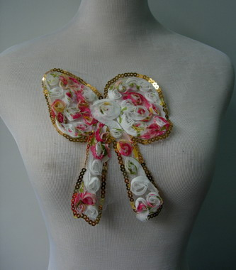 FN46 BOW Floral Printed Shabby Rosette Chiffon Sequined Applique
