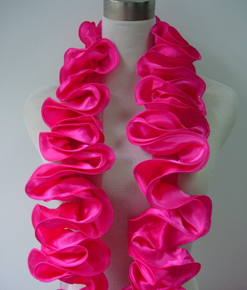 FT14 Satin Exaggerated Ruffled Rosette Banding Edging Fuchsi 1yd