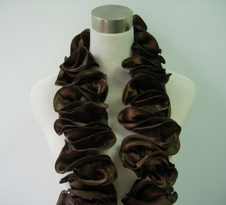 FT19-3 Satin Exaggerated Ruffled Rosette Banding Dark Brown 1yd