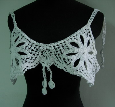 CF32 Cotton Thread Crochet Flower Top Bra Applique White