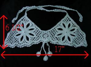 Cf32 cotton thread crochet flower top bra applique white [cf32