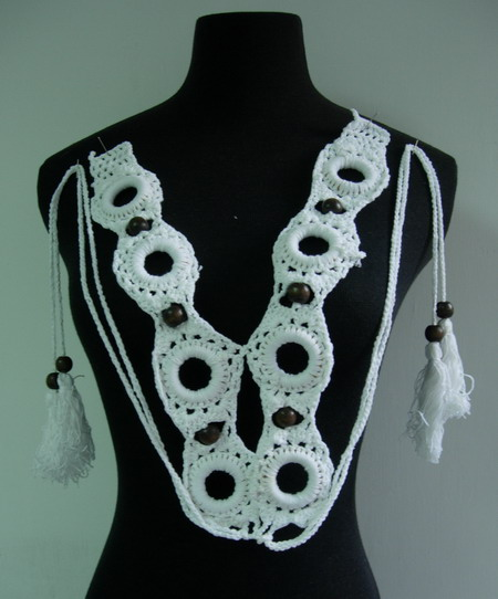 CF15 Hand Crochet Rings Beaded Fringe Corset Neckline Collar