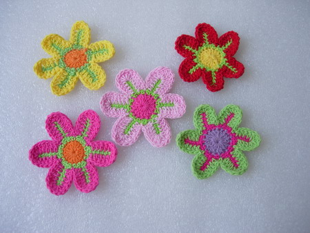 CR11-11 Crochet Flower Applique Motif Assorted 10pcs
