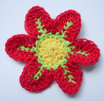 CR11-8 Crochet Flower Applique Motif Red 10pcs