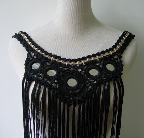 CR120 Hand Crochet Fringed Mirrored Front Neck Bodice Applique
