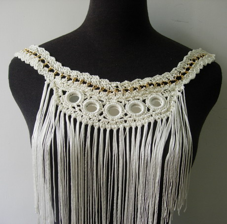 CR121 Hand Crochet Fringed Mirrored Neckline Front Applique
