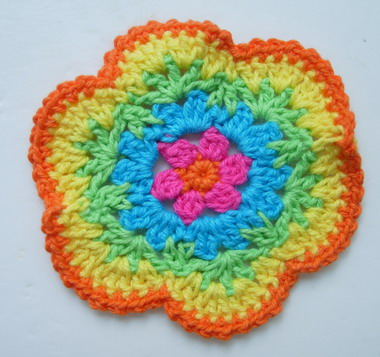 CR15-2 Crochet Knitting Petal Flower Multicolor 5pcs