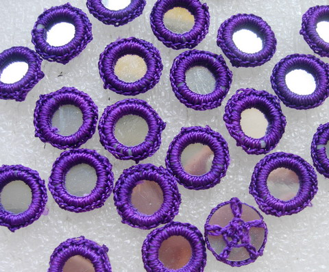 CR26-8 Gypsy Boho Ethnic Crochet Knit Mirror Applique Purple x30