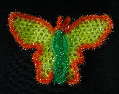 CR48 Fun Fur Metallic Trims Yarn Crochet Applique Butterfly x4