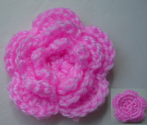 CR59-4 Wool Mohair Crochet Tier Flower Applique Motif Pink x5