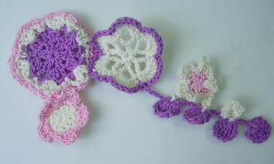 CR68 Colorful Crochet Chain Flowers Applique Sewing/Trim