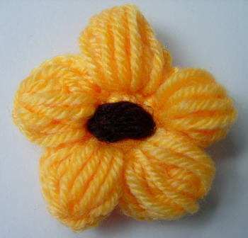 CR88 Wool Mohair Crochet Starflower Applique Motif Orange x5