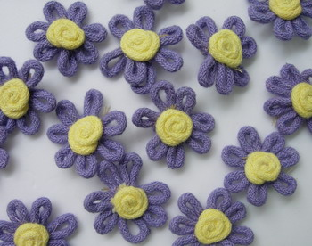 RZ42 Cottton Rope Flower Applique Purple x40 Sew/Trim