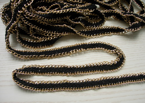 FR112 Handmade Braided & Chain for Craft Jewelry Black 1Yard